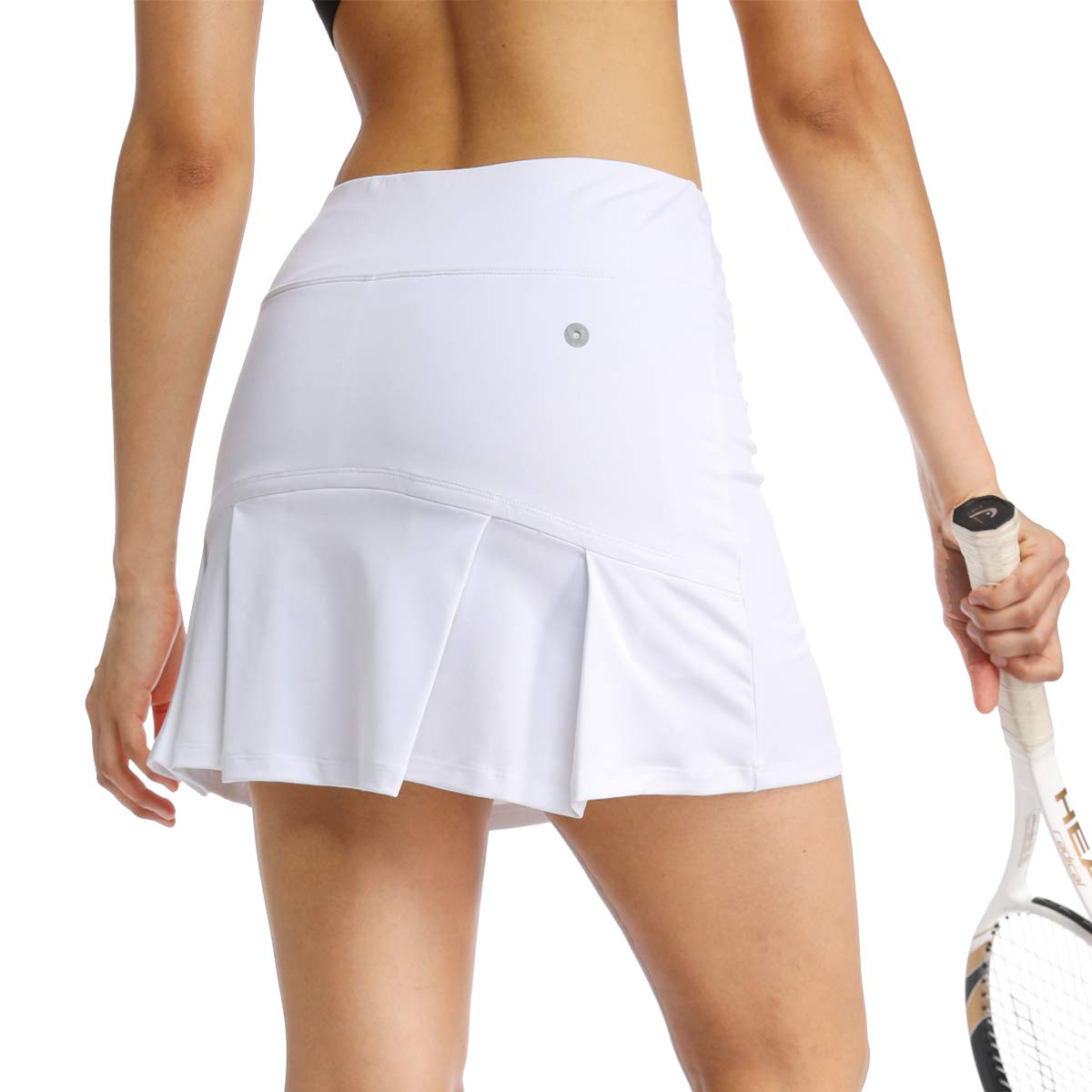 Ibeauti Womens Back Pleated Athletic Tennis Golf Skorts Skirts with 3 Pockets Mesh Shorts for Running Active Workout (White, Small) by Ibeauti