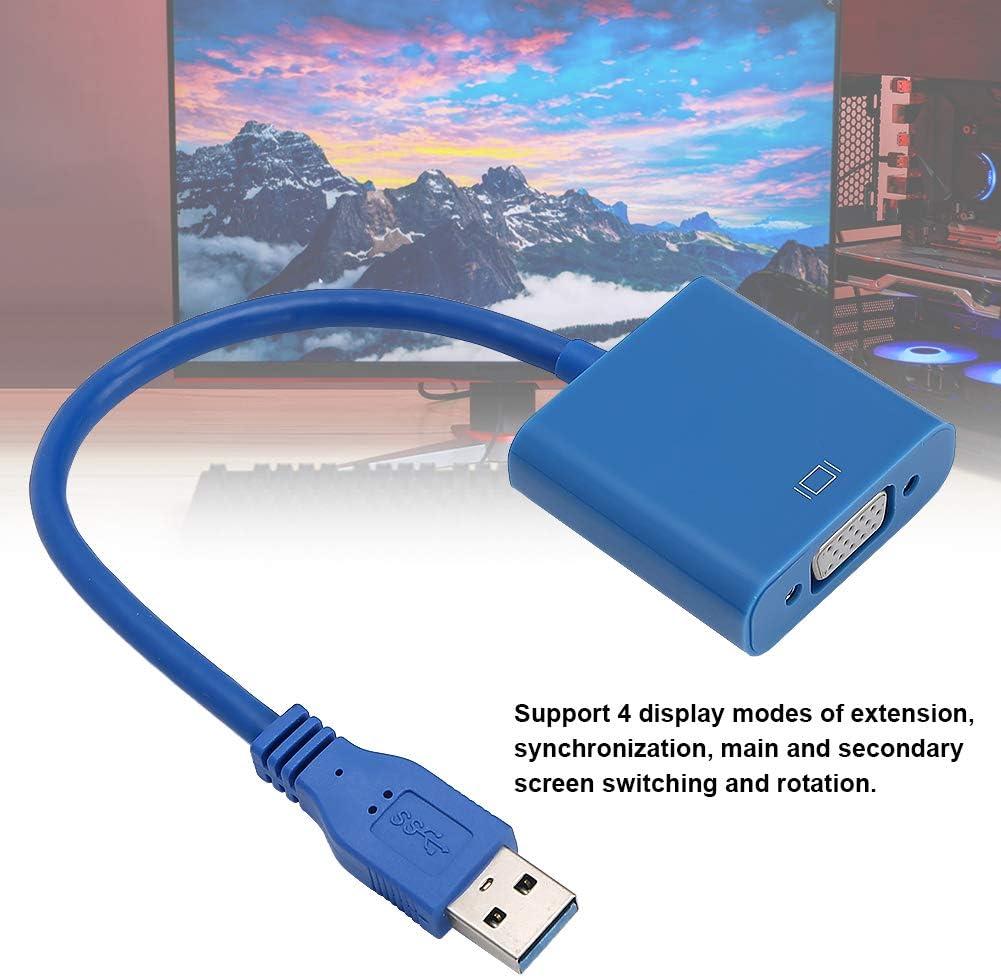 Externe USB 3.0 zu VGA-Grafikkarte HDTV Desktop Projektor Neuer USB-zu-VGA-Video-Grafikkonverter 1920x1080 Multi-Display-Videokonverter f/ür PC Laptop Monitor