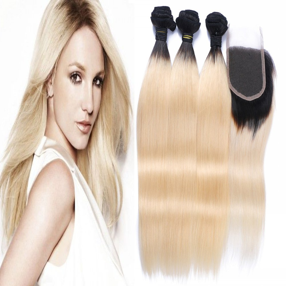 Amazon carina hair 1b613 dark root blonde brazilian virgin amazon carina hair 1b613 dark root blonde brazilian virgin hair with closure ombre hair extensions 4pcs lot straight hair size14 16 18 inch12 inch pmusecretfo Images