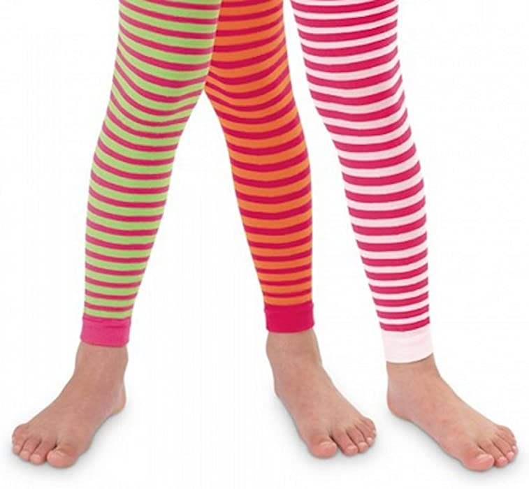0ba62b561ed Amazon.com  Jefferies Girls Bold Striped Footless Tights Size 2 to 10  years- 3 Color Combinations!!  Clothing