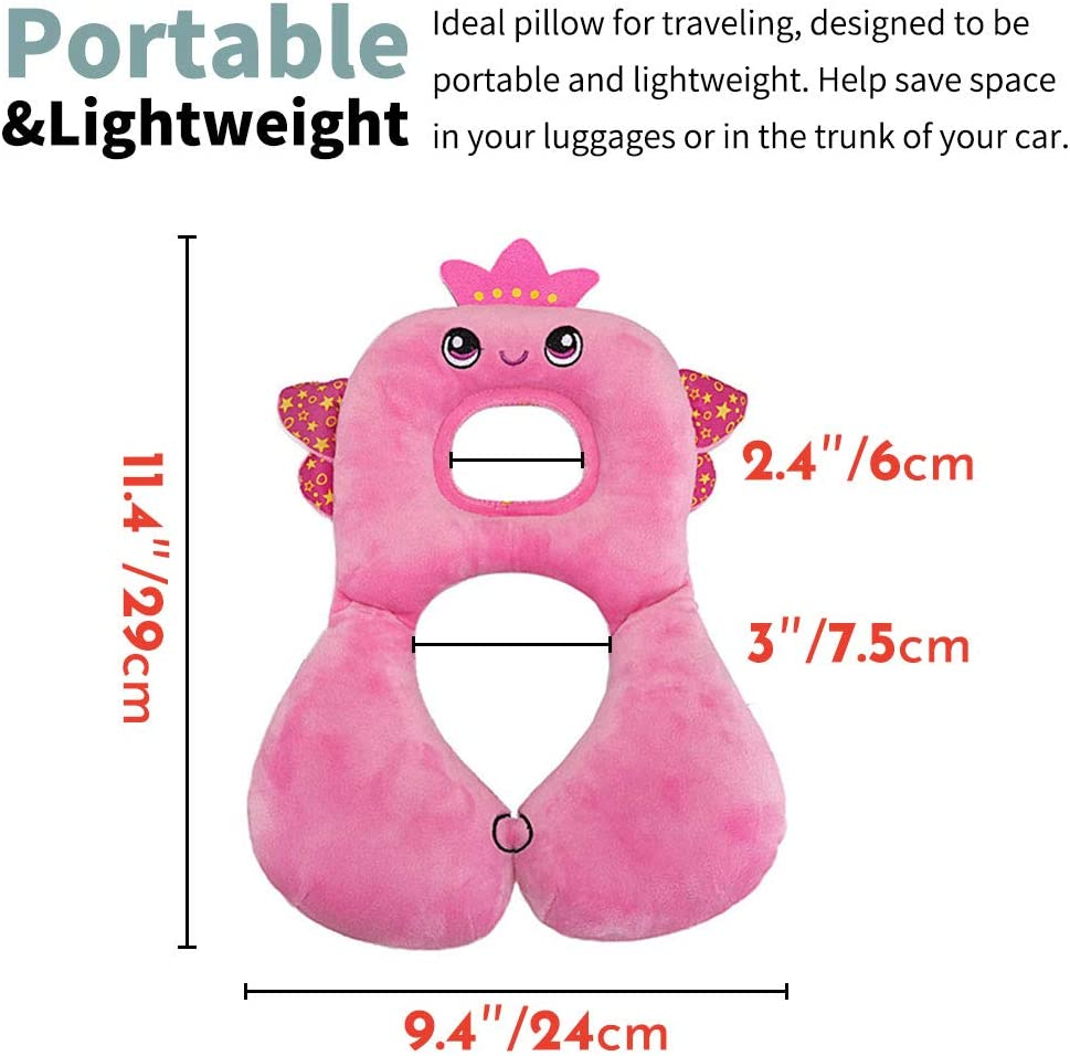 soporte para la cabeza Almohada de viaje para beb/és rana verde para 2-4 a/ños alivia la fatiga del cuello y cuida la columna cervical del beb/é cuello y ment/ón del asiento del autom/óvil para beb/és