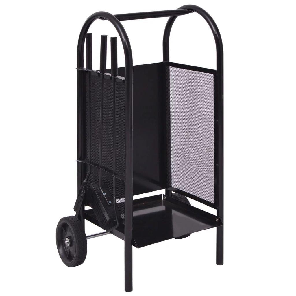 Luckyfu Carrello per la Legna in Ferro 35 x 30 x 81 cm.Solido, Affidabile e Resistente.portalegna da esterno.portalegna da interno.