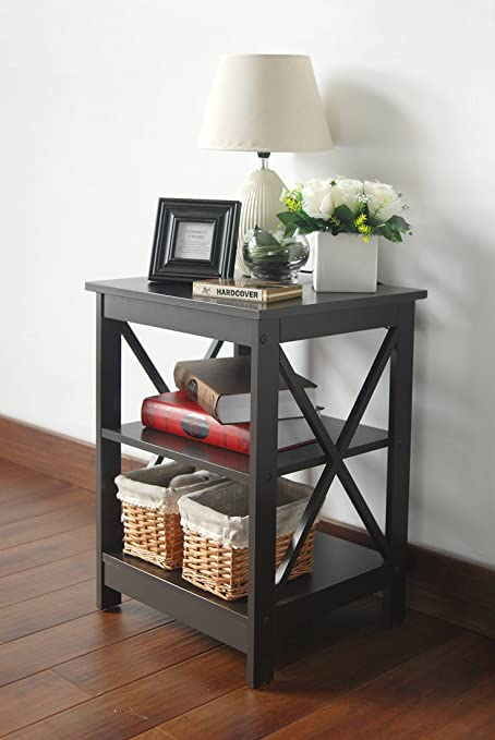 Espresso Finish Wooden X Design Chair Side End Table With 3 Tier Shelf