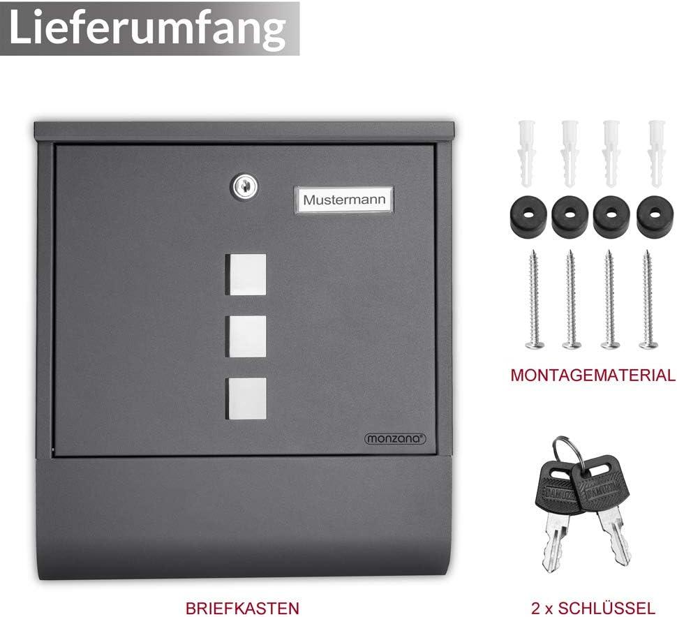 Monzana Design Briefkasten Stahl anthrazit mit Zeitungsfach 2 Schl/üssel Namensschild Wandbriefkasten