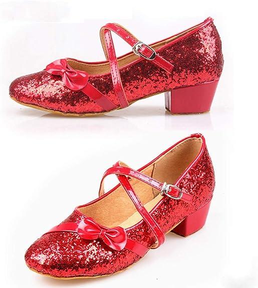 Filles Enfants Rouge Foncé Velours Chaussures Talon Bas Honneur Fête Fleur Fille