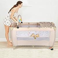 lits de voyage pour bébés, Parc de voyage pour bébé avec lit de voyage pliable avec filet de sécurité + 2 roues + sac de transport, 120x60x76cm