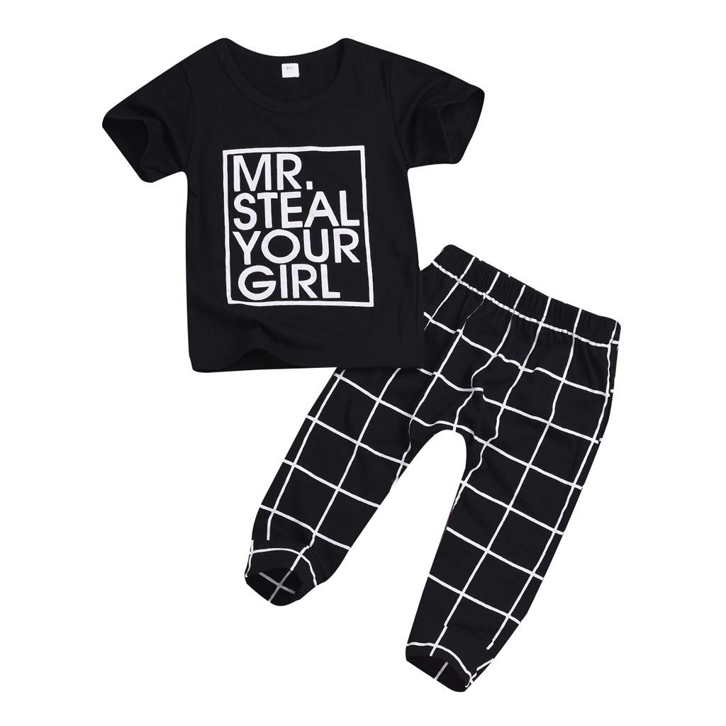 1acc06e1 Amazon.com: Unisex Toddler Boys Gilrs Short Sleeve Letter Print T-Shirt  Tops and Elastic Casual Pants Plaid Trousers Clothes Set: Clothing