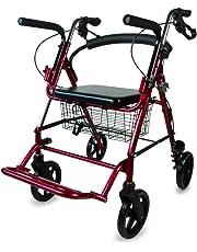 Mobiclinic Andador para Ancianos y Silla de Ruedas | 2 en 1 | Frenos en manetas, Altura Regulable, Plegable, Cesta y Asiento | Mod. Colón