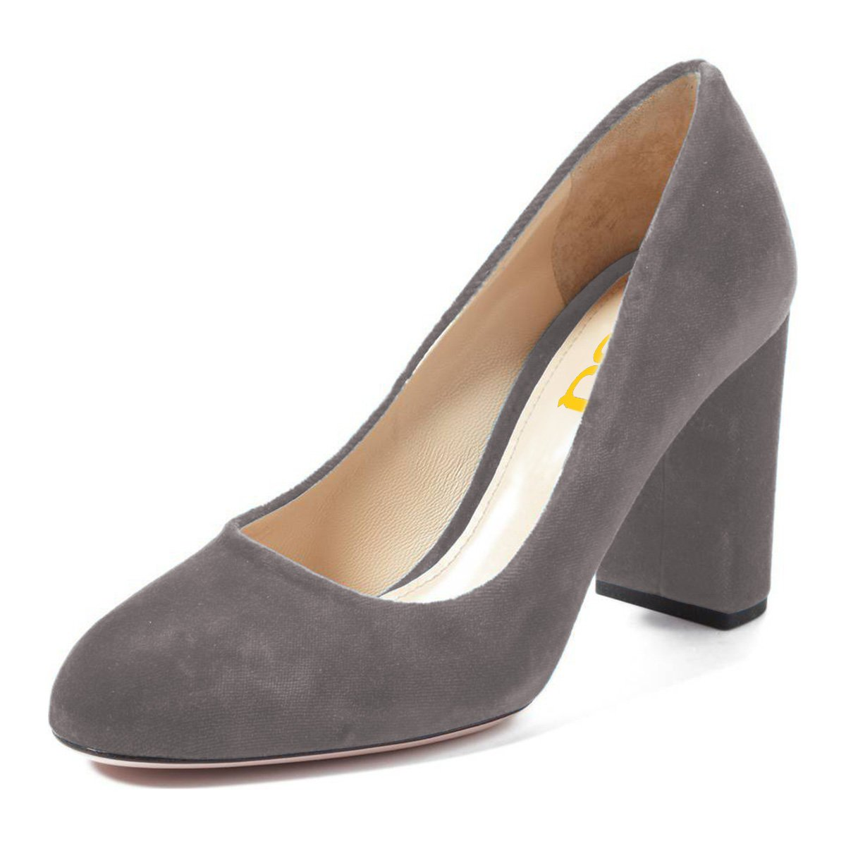 FSJ Women Classic Round Toe Velvet Pumps Chunky High Heels Slip On Office Dress Shoes Size 4-15 US B077Q3SV1G 11 M US|Grey