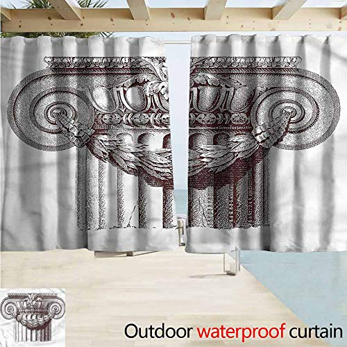 MaryMunger Indoor/Outdoor Print Window Curtain Ancient Antique Column Roman Drapes for Outdoor Decor W55x72L ()