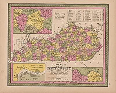Kentucky Vintage Map Mitchell 1847 Original Kentucky Decor History Housewarming Ancestry Gift Ideas