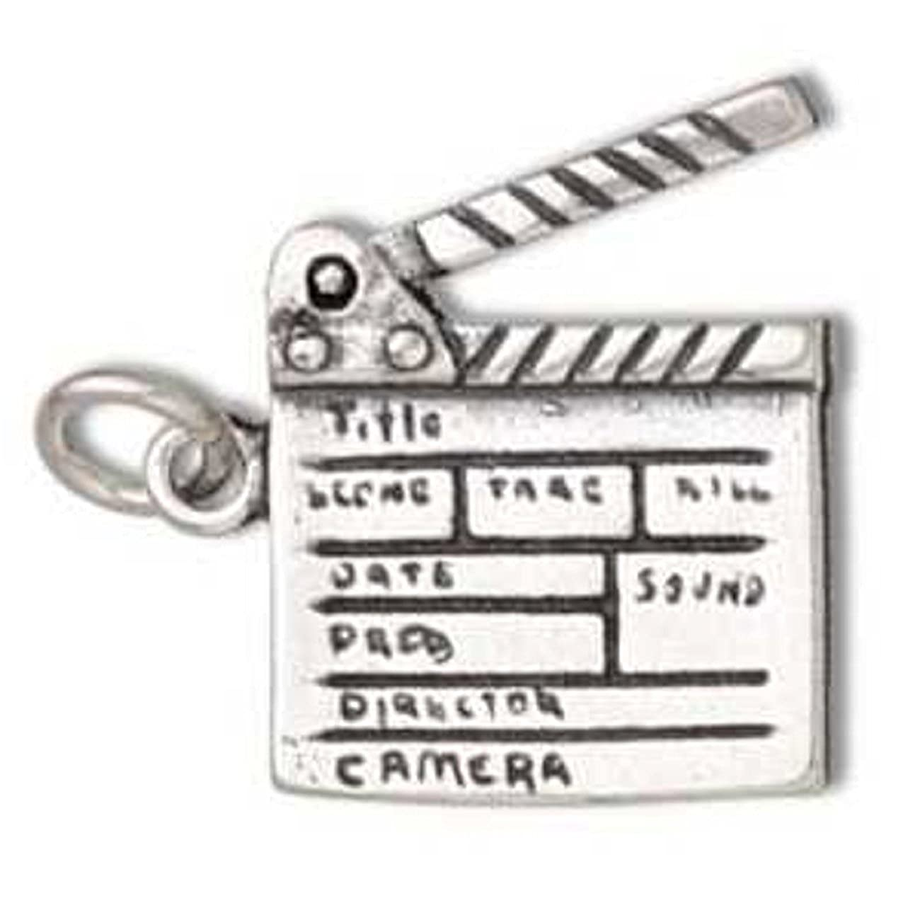 Sterling Silver 7 4.5mm Charm Bracelet With Attached 3D Moveable Directors Movie Film Clapboard Charm