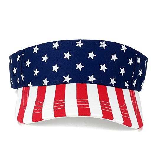 577cabcc7efe American USA Flags Stars and Stripes Patriotic Twill Cotton Visor - Flag at  Amazon Men s Clothing store