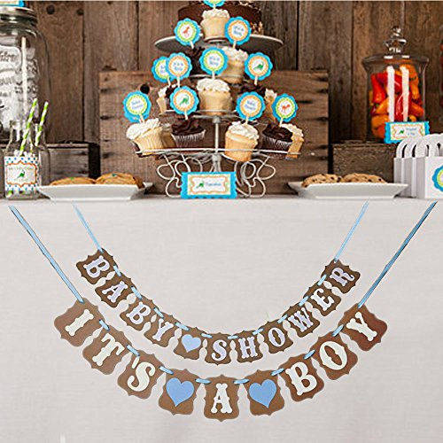 Premium Disposables 2 In 1 Blue Baby Shower And It's A Boy Garland Bunting Banner. Vintage Rustic Party Decorations, Kraft Paper Photo Prop]()