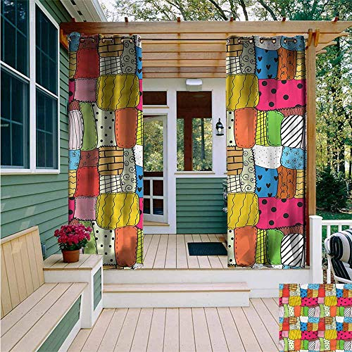 Beihai1Sun Outdoor Blackout Curtain,Patchwork Lively Tone Quilt Pattern,for - Quilt Block Fabric Panel