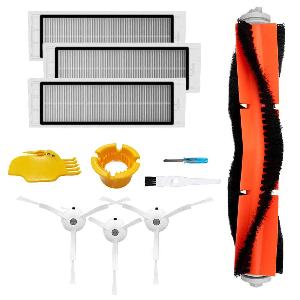 Theresa Hay Accessories for XIAOMI MI mijia Roborock S5 S50 S51 S55 E35 E25 E20 Roborock Robot Vacuum Side Brush 3pcs HEPA Filter 3pcs Main Brush 1pcs Cleaning Tool 1pcs Cleaner Parts