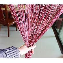 Eyotool 1x2 M Door String Curtain Rare Flat Silver Ribbon Thread Fringe Window Panel Room Divider Cute Strip Tassel for Wedding Coffee House Restaurant Parts, (Cleart)