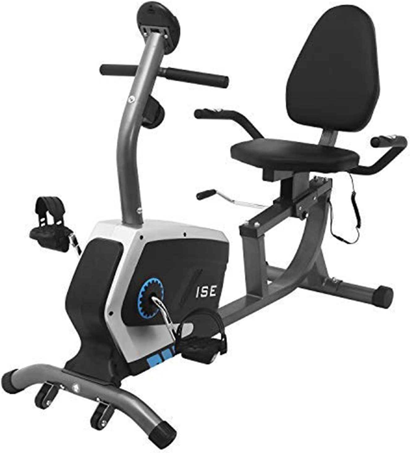 ISE Bicicleta estática magnética horizontal con 8 niveles de resistencia y sillín ajustable, bicicleta de fitness con respaldo, sensores de pulsación integrados, máx. 120 kg, súper silencioso, SY-6801