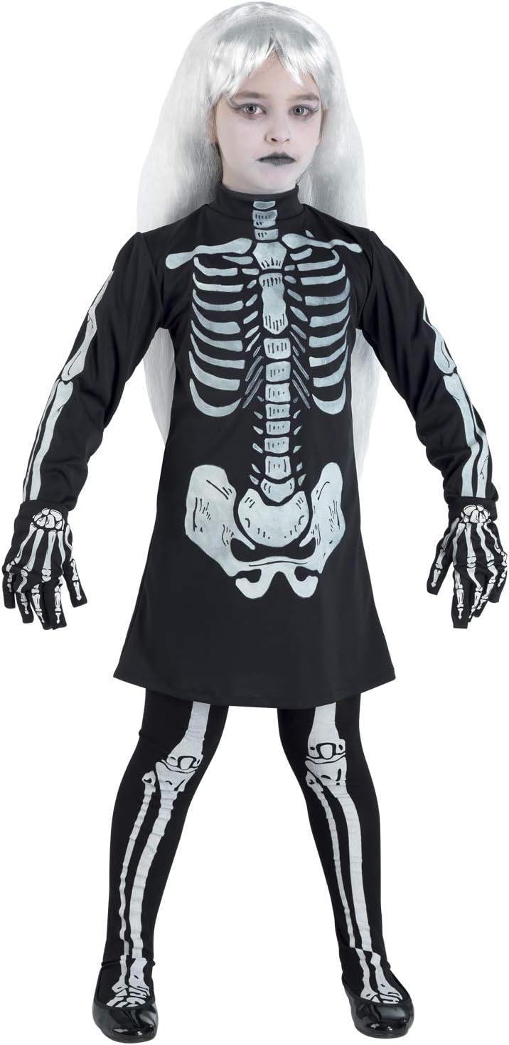 Clown Relier skelet meisjes kostuum, 57708/08, meerkleurig