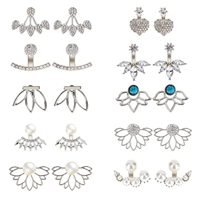 126a1df19bcce AIM Cloudbed 10 Pairs Ear Jackets for Women Girls, Hollow Lotus Flower  Earring Jackets Crystal Simple Chic Earrings Front Back Stud Earrings Set  ...