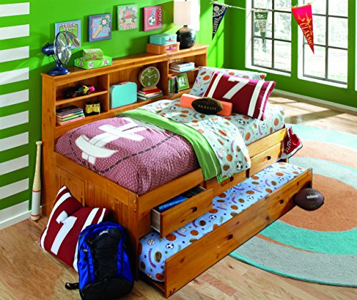Discovery World Furniture Twin Bookcase Daybed with 3 Drawers and Twin Trundle, Honey - Honey Pine Bookcase