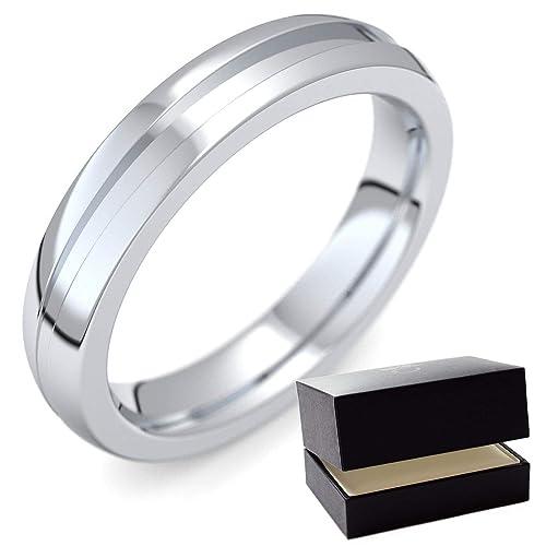 Anillo de platino 600 alianzas de matrimonio (/600 + Incluye Luxus Funda + alianzas