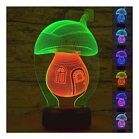 a442634c0661 SZLTZK Christmas Gift Mixed Dual Color 3D LED Mushroom House Night Light 7  Color Touch Switch ...