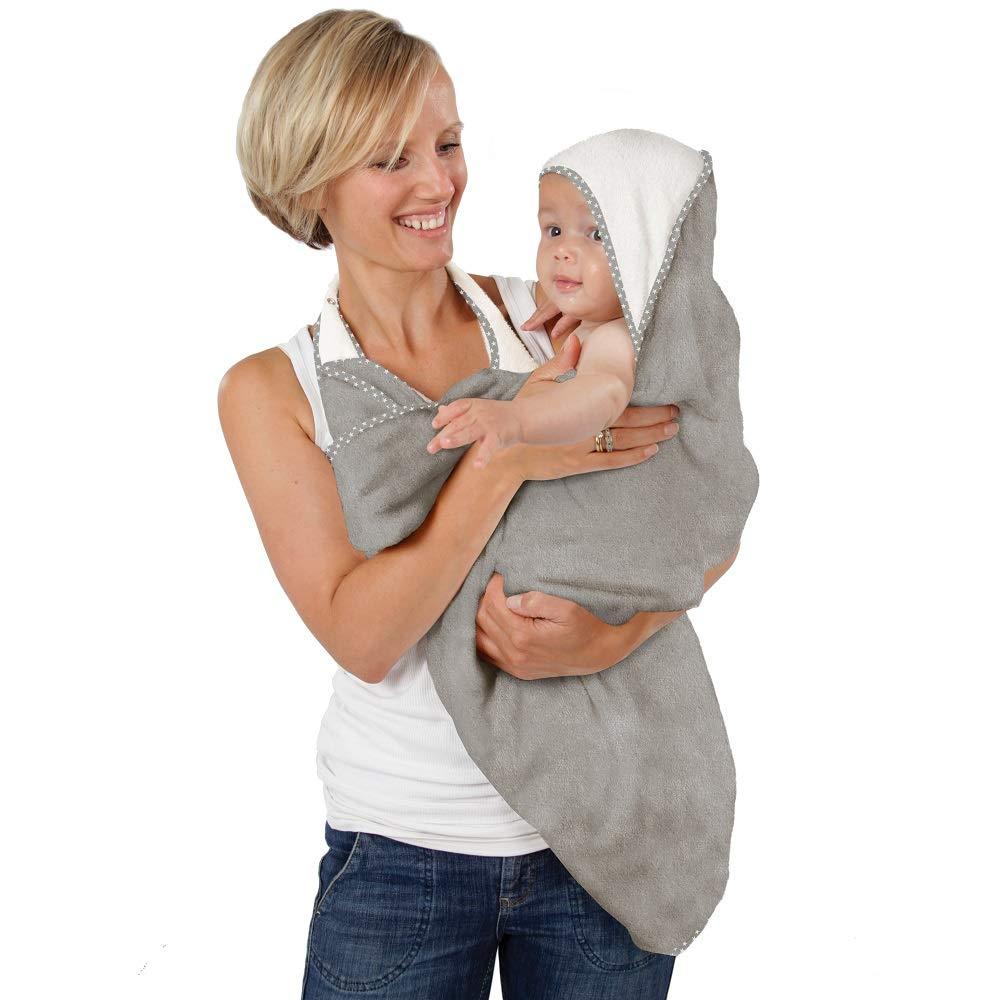 Cuddledry  Baby-Handtuch f/ür freie H/ände/ /Weiches Grau mit grauem Saum mit Sternmotiv