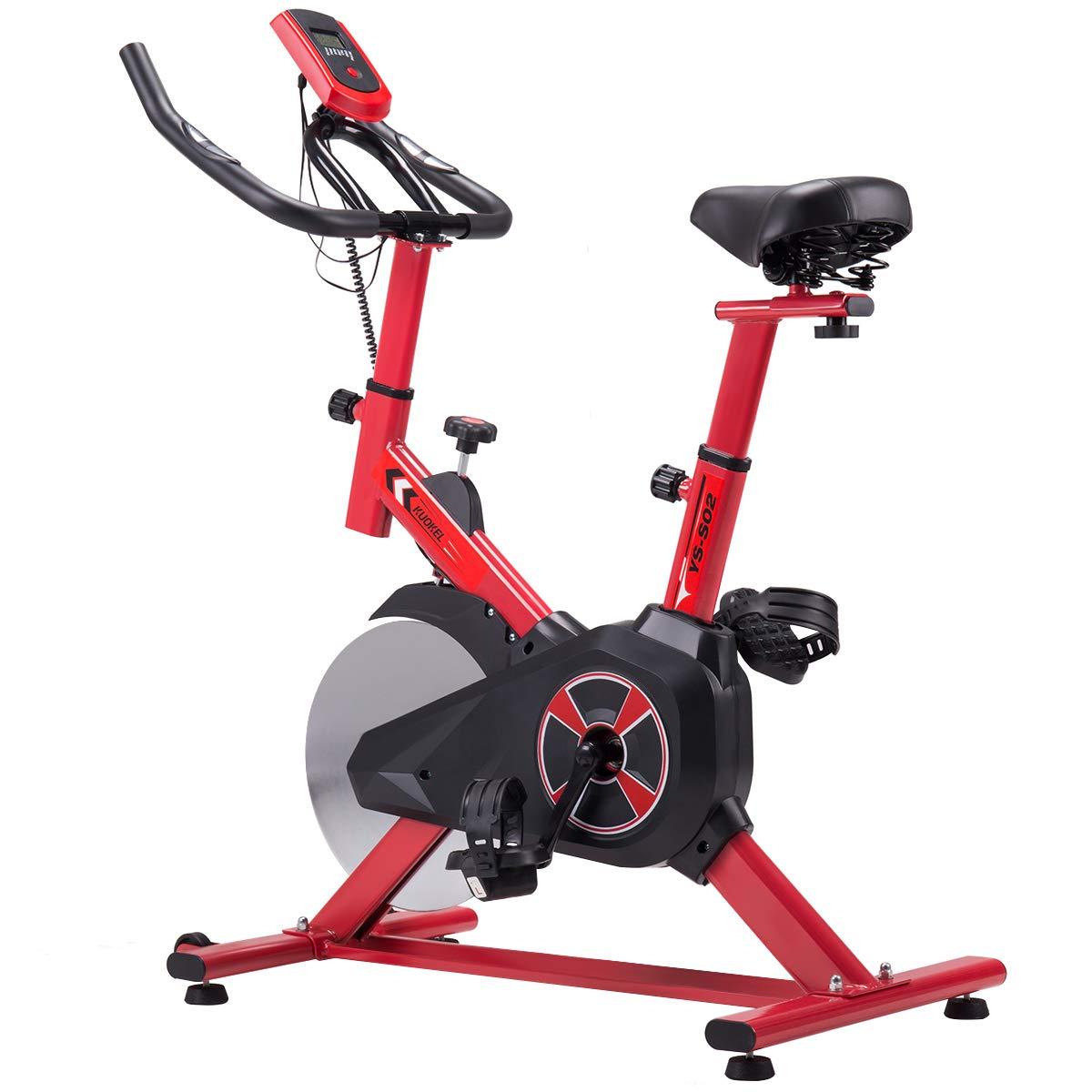 KUOKEL K601 - Indoor Cycling Bike Exercise Bike mit 10kg Schwungrad (Spinning Bike, Hometrainer, Gepolsterter Armauflage, Komfortsattel, ruhiges Reiten Pulsmessung bis 120kg)