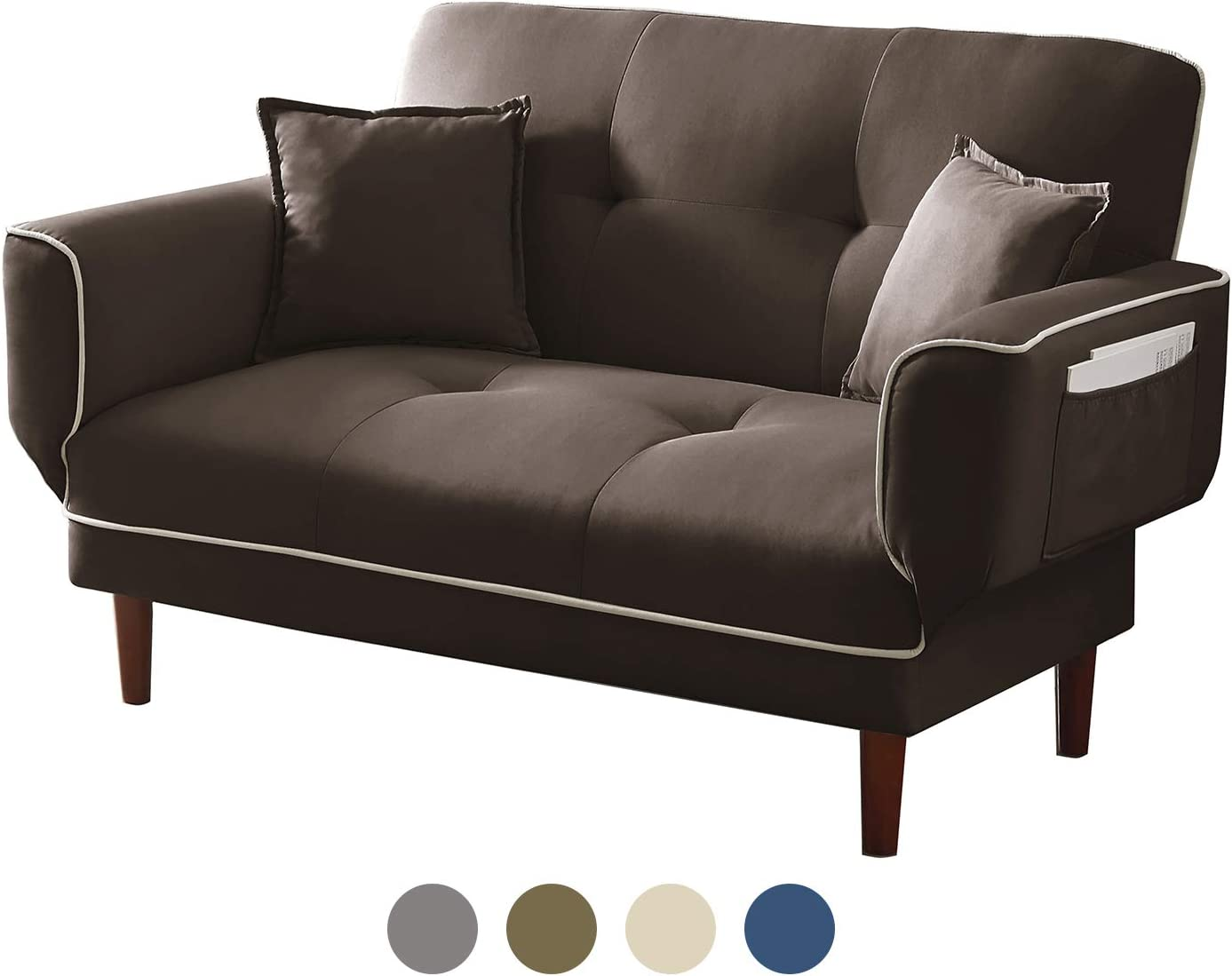 Amazon Com Freesnooze 56 Loveseat And Mini Chaise Sofa Bed With 2 Pillows For Living Room And Bedroom Brown Kitchen Dining