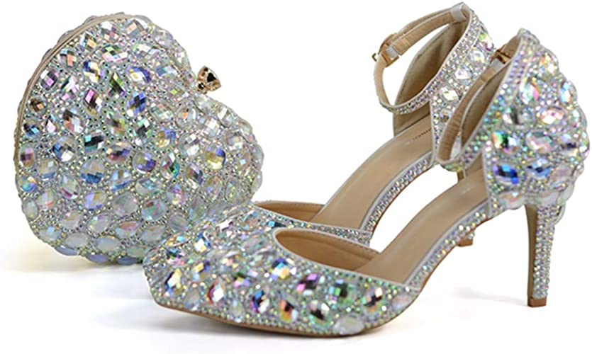 Amazon Com Bride Wedding Shoes With Matching Bag Blingbling Ab