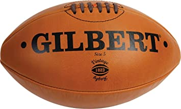 GILBERT rugby deporte balón de piel Vintage marrón tamaño mini o 5 ...