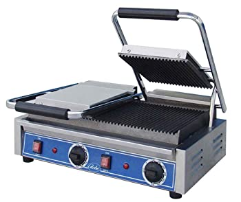 Globe GPGDUE10 Bistro Electric Countertop Groove Panini Double Grill