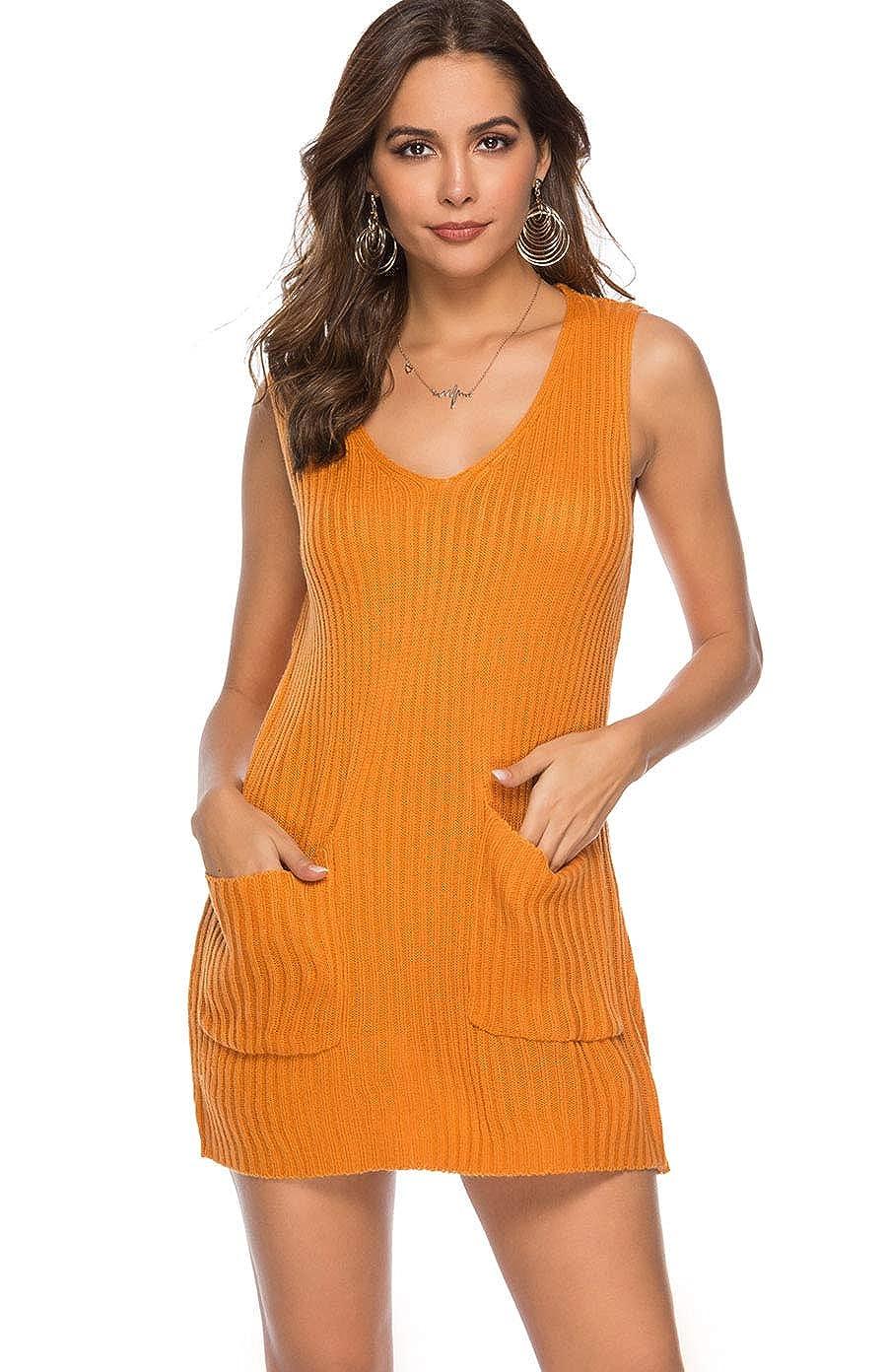 5cee147efc36 Koitmy Womens V Neck Sleeveless Knit Loose Tank Sweater Dresses with  Pockets at Amazon Women s Clothing store