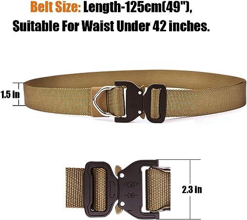 Cintur/ón Militar de Nailon de 1.5 Pulgadas T/áctico Resistente con Correa de Metal de Liberaci/ón R/ápida Para Equipo EDC Molle T/áctica Cintur/ón S.Lux Nylon Cintur/ón