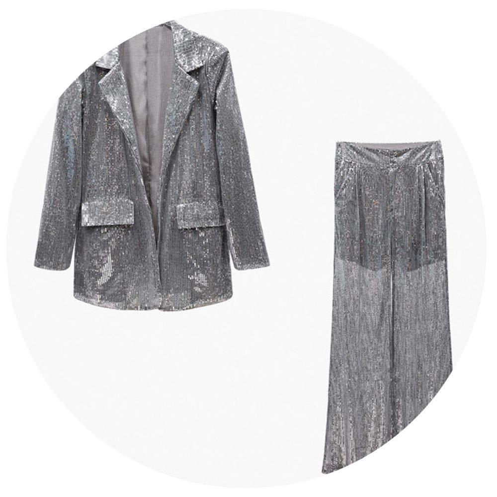 Sliver Sets Piiuiy Yuik Sequins Women's Suits Long Sleeve Blazer Coat Tops Female High Waist Wide Leg Pa