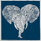 Sharp Shirter Mandala Elephant Shower Curtain Set Indian Art Boho Bathroom Decor Blue Fabric Hooks Included