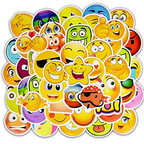 Smile face Waterproof Vinyl 50pcs Emoji Stickers Personalize Laptop, Car, Helmet, Skateboard, Luggage Graffiti Decals (50pcs) (D)