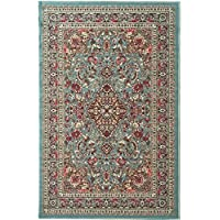 33x5 Aqua Blue Tribal Bohemian Flowers Printed Runner Rug, Indoor Outdoor Floral Pattern Living Room Rectangle Carpet, Rich Textures, Vibrant Color Soft Synthetic Material, Modern Elegant Design