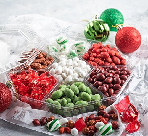 Christmas Holiday Nuts And Candy Gift Basket, Gourmet Corporate Gift Tray, 7 Section Assortment By Farm Fresh Nuts