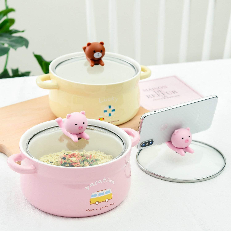 S/ü/ße gro/ße Keramik-Sch/üssel mit Deckel und Griff f/ür Suppen//Reis//Salat//Instant//Nudeln//Gem/üse Fr/üchte gr/üner B/är, 1000 ml