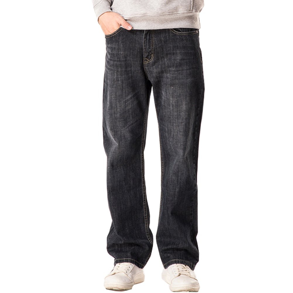 Shunht Mens Fashion Straight Loose Jeans Trousers Jean Denim Casual Pants