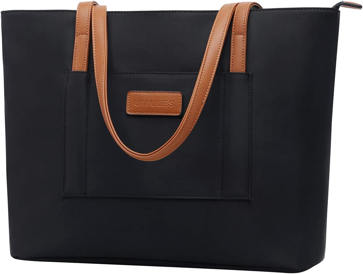 UMIULES Laptop-Bag-for-Women,13-15.6 Inch Nylon Laptop-Tote-Bag Lightweight Briefcase Multi-compartment Teacher-Bag Business Work-Purse with Dual Shoulder Straps for Work School Travel Shopping,black
