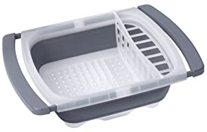 Prepworks by Progressive Collapsible Over-The-Sink Dish Drainer, CDD-20GY, Large Washing Basin, Dish Tub, Perfect for RV, Best Camping Camper Dish Tub
