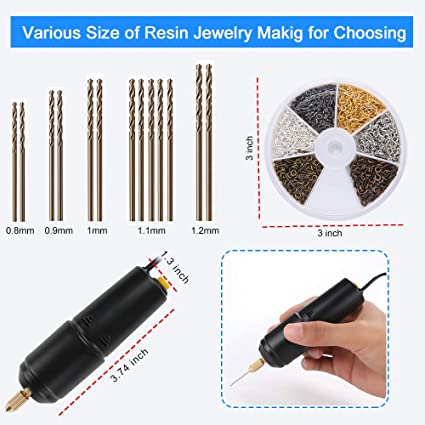Key Chain Making 0.8-1.2mm HSJL Resin Drill Set- Pin Vise Electric Mini Drill with 13 PCS Twist Drills Bits DIY Jewelry and 6 Colors Screw Eye Pins- for Resin Plastic,Wood Polymer Black