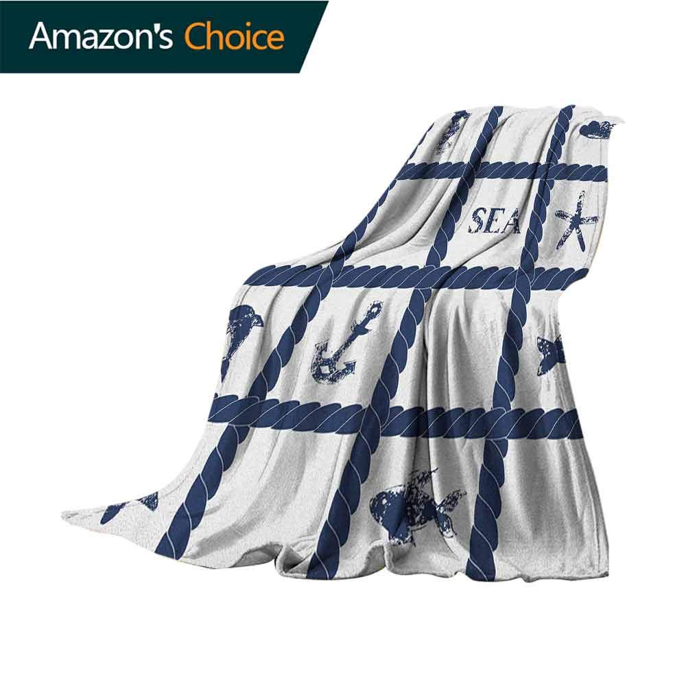 Navy Blue Weighted blanket for kids,Navy Yacht Vessel Rope used as Frame with Starfish Fish and Anchor Image Luxury Flannel Throw Blankets for Bed(Lightweight,Super Soft),30''Wx50''L Navy Blue and White by Custom&blanket