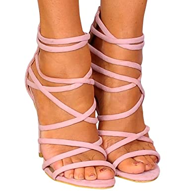52ad3fb9763 Shoe Closet Ladies Baby Light Pink Strappy Sandals Stilettos High Heels  UK8 EURO41 AUS9