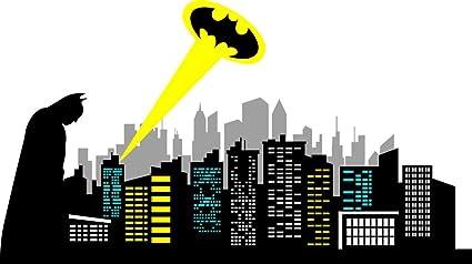 amazon com chic walls removable gotham city skyline batman