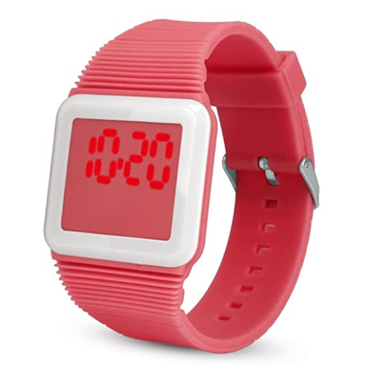 QinMM Deporte Muñeca Relojes Digitales LED Tecnología para Niños Niñas pulsera (Rojo)