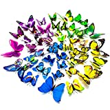 48pcs 3D Butterfly Stickers Removable Mural Stickers Art Design Decal Wall ...